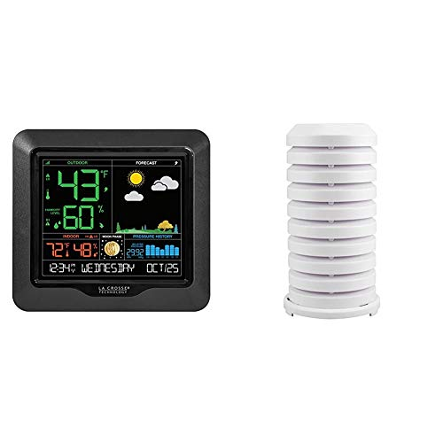 La Crosse Technology 308-1416-TBP Color Forecast Station, Black & Crosse Technology 925-1418 Sensor Protection Shield with Mount