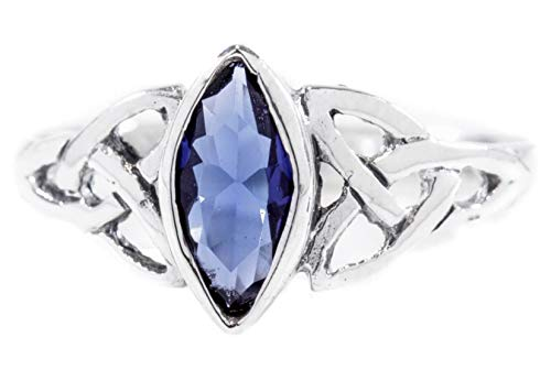 WINDALF Ring RIGANI h: 0.9 cm Keltischer Liebesknoten Blauer Kristall 925 Sterlingsilber (Silber, 66 (21.0))