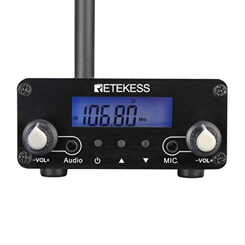 Retekess TR508 Wireless FM Broadcast Transmitter, Mini Radio Stereo Station for Drive-in Church Worship,Parking Lot (Black,1 Pack)