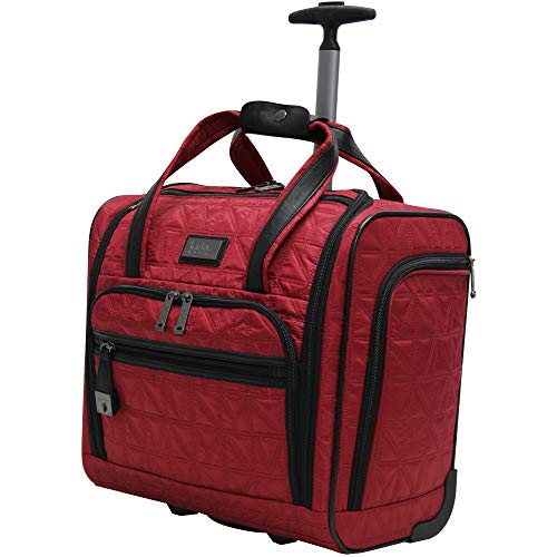 Nicole Miller Underseat Luggage Collection - Small Lightweight 15 Inch Under Seat Bag - Briefcase for Women - Carry On Suitcase with 2- Rolling Spinner Wheels (Burgundy)