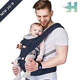 HANLINE LittleCuddles - Marsupio neonati – Zaino porta bambino ergonomico 3 in 1 [3 colori] – Tessuto di alta qualità/traspirante/facilmente regolabile – Per bambini 0-3 anni (Navy Blue)