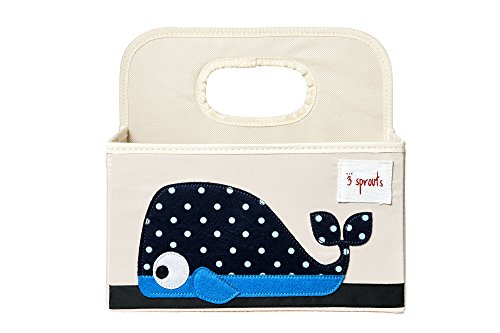 3 Sprouts Baby Diaper Caddy - Organizer Basket for Nursery, Whale