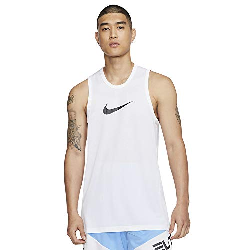 Nike M NK Dry Top SL Crossover BB Débardeur Homme, White/(Black), FR : L (Taille Fabricant : L)