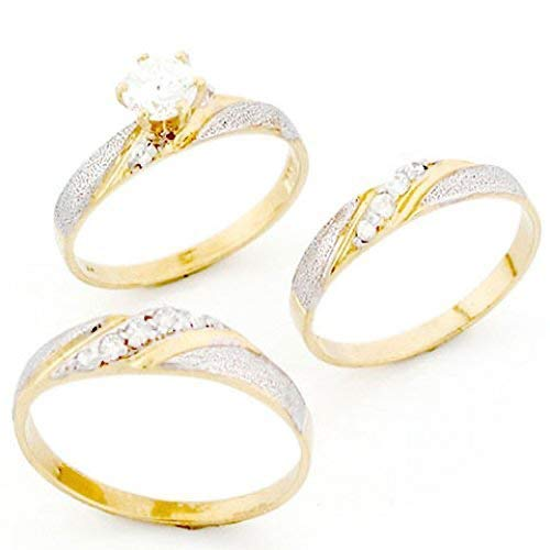 Jewelry Liquidation 10k Two Tone Gold His & Hers Trio CZ Wedding Ring...