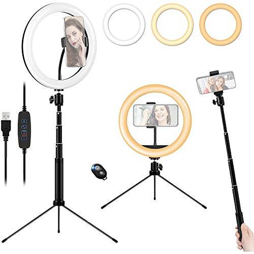 YDBET 10'' Ring Light Tripod Stand & Phone Holder, Dimmable Desktop LED Ring Lamp, USB Circle Lights with Remote for Selfie, Makeup, Youtube Video Shooting, Tiktok Live Streaming