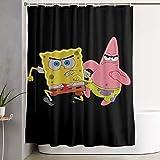 LIUYAN Duschvorhang mit Haken – Patrick Star & Spongebob Wasserdichter Polyester-Stoff für das Badezimmer, 152,4 x 182,9 cm