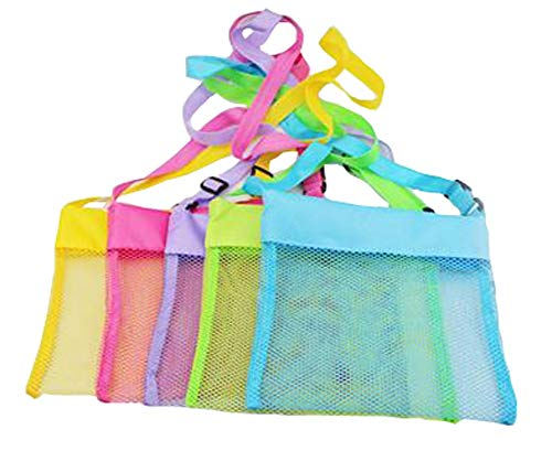 LEECOCO 5-PCS Colorful Mesh Beach Tote Bag, Tote Cooler Bag Portable Foldable Sea Shell Bag with Adjustable Carrying Straps Yellow, Rose Red, Purple, Green, Blue 5 Beach Bags
