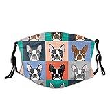 Boston Terriers Tile Bulldog Dog Set ajustable anti polvo cara boca reutilizable lavable cara cubierta facial polvo bufanda boca