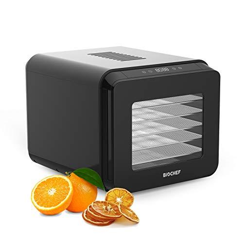 Déshydrateur Alimentaire BioChef Tanami 6 Plateaux - 35°C à 70°C, Affichage Digital, Minuterie 72h, Porte transparente, Plateaux en Inox amovibles, Boîtier sans BPA. (Noir)
