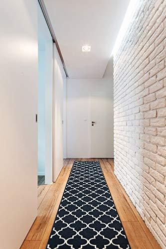 Passatoia Corridoio TRELLIS antiscivolo, per cucina, corridoio, soggiorno, robusto, moderno, nero 133x190 cm