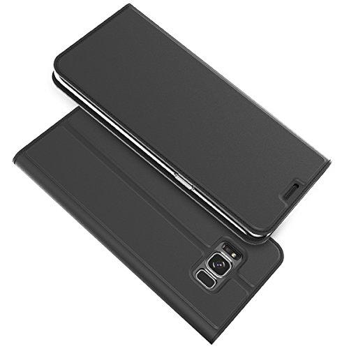 Cover Samsung Galaxy S8 Custodia Slim Libro Design Wallet Caso Luxury Pelle Leather Magnetic Flip Stand Protective Cover with Portafoglio Card Slot for Samsung S8 (Nero)