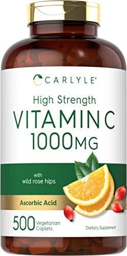 High Strength Vitamin C 1000mg | 500 Caplets | Ascorbic Acid with Wild Rose Hips | Non-GMO and Gluten Free | by Carlyle