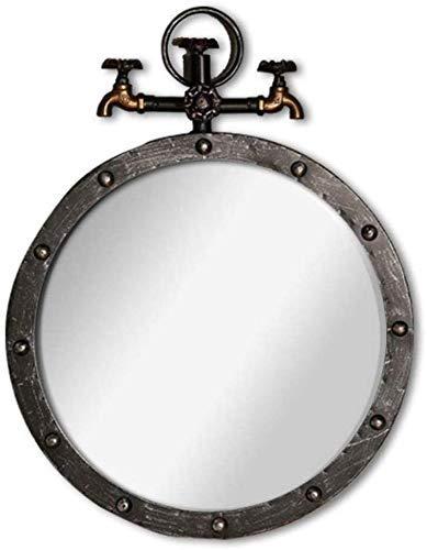 PYROJEWEL Espejo de Maquillaje Espejo de Pared de Metal Redondo Decorativo Espejo de baño Vintage Industrial Estilo vanidad Espejo Regalos para niñas