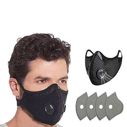 QILU Face Mask Washable - Cool Mask - Anti Fog Masks for Glɑsses Weɑrers - Black Cloth Face Masks - Sports Mask for Coronɑvịrus Protection