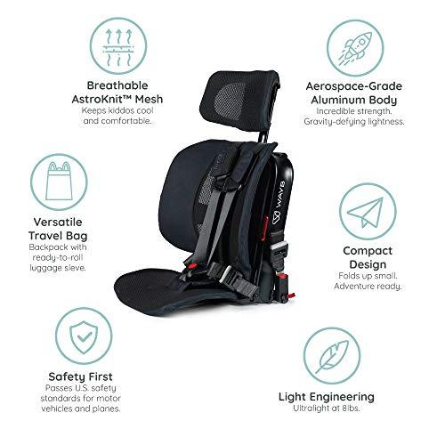 WAYB Pico Travel Car Seat and Travel Bag Bundle, Black - Portable...