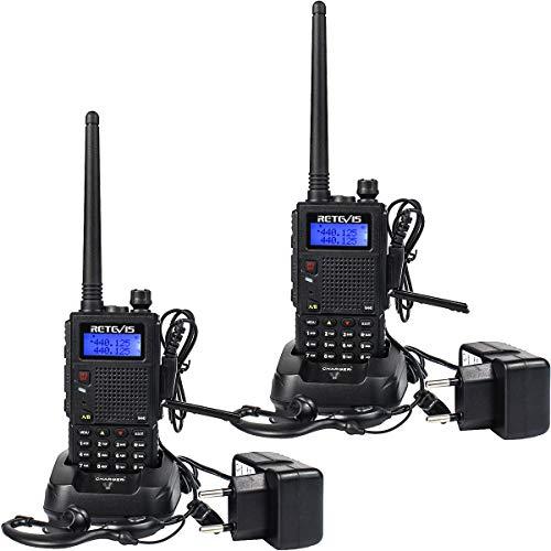 Retevis RT5 Dualband Funkgerät 2m/70cm Große Reichweite Hohe Leistung 2 Way Radio 128 Kanäle 1400mAh CTCSS/DCS VOX FM Radio Funkgeräte Set (2 Stücke, Schwarz)
