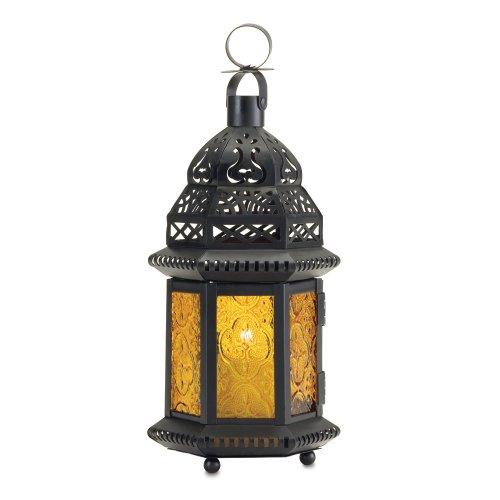 Smart Living Grande Lanterne Marocaine en Verre Jaune 14,6 x 12,7 x 25,4 cm