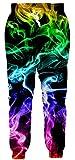 Leapparel Unisex Humor Colorful Pants Elastic Drawstring Hip Hop Rock Sweatpants Joggers Vintage Clothing for Men L