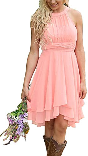 Gemila Women's Short Country Maid of Honor Bridesmaid Dresses Western Wedding Guest Gown Light Pink US18W