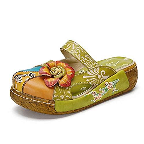 UXZDX Zapatos de Mujer Zapatillas de Plataforma Plana Cuero Genuino Hecho a Mano Cubierta de Flores Dedos de los pies Cómodas Diapositivas (Color : Green, Size : #35)