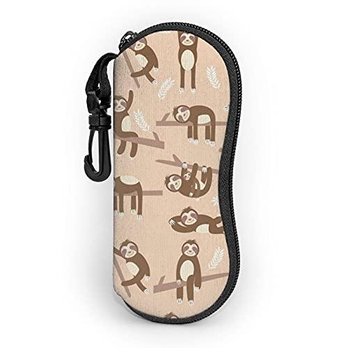 Sloth Gafas de sol Funda suave con clip para cinturón, estuche portátil con cremallera, bolsa de gafas de neopreno ultra ligero portátil con cremallera