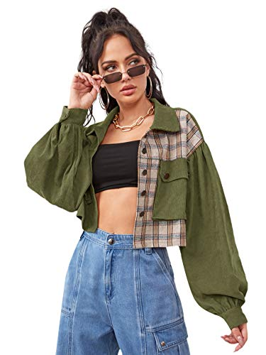 Verdusa Women's Pocket Front Long Sleeve Plaid Casual Outerwear Corduroy Jacket Army Green S