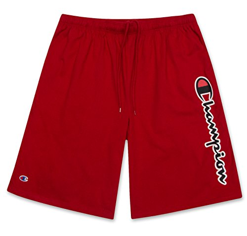 Champion Mens Big and Tall Lightweight Cotton Jersey Shorts with Script Logo Scarlet