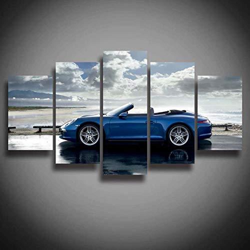 VCTQ Cinco Pinturas consecutivas Wall Art HD Pintura Impresa Playa de 5 Paneles Blue carss Deportivos para Sala de Estar Decoración del hogar