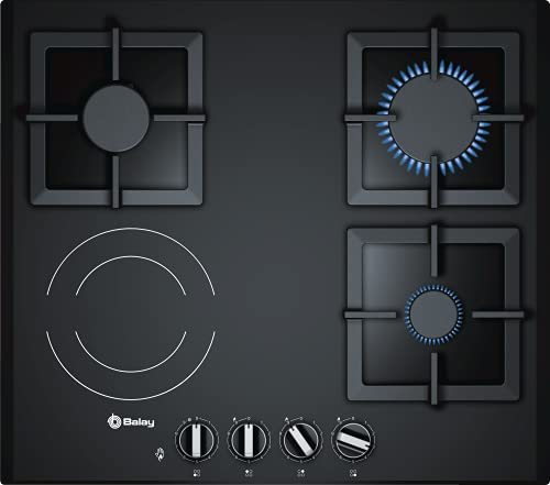 Balay 3ETG667HB - Placa de Gas Mixta, 3 zonas de gas y 1 eléctrica, 60 cm, Cristal Vitrocerámico Negro