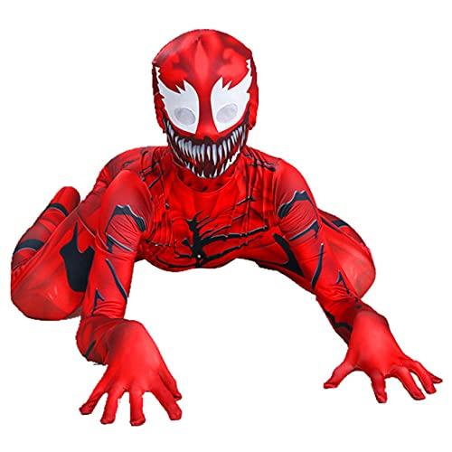 Carnage Venom Tuta Bambini Spider Man Tuta Ragazzi Costume Cosplay Halloween Abbigliamento Classico Carnevale Outfit Puntelli di Film Calzamaglia Onesies,Red-Kids/L/125~135cm