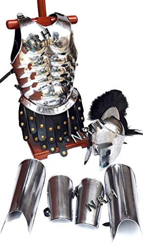 Nautical Replica Hub Medieval Armor King Spartan 300 Helmet WBlack Plume Muscle Jacket Leg Arm Guards 18 Gauge Steel