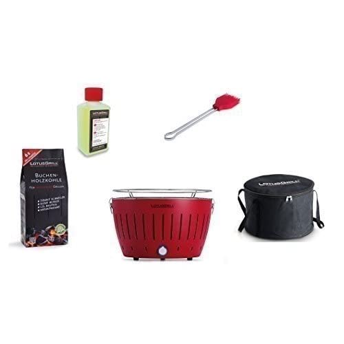 LotusGrill Starter Kit 1 Lotus Grill Fire Red 1 Beech Charcoal 1 kg – 1 Lighting Gel 200 ml, Marinating Brush Fire…
