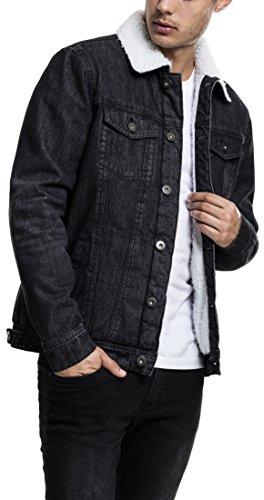 Urban Classics TB1796 Herren und Jungen Sherpa Denim Jacket, klassische Trucker-Jeansjacke mit Fell für Herbst und Winter, warm gefüttert - black washed, Größe M