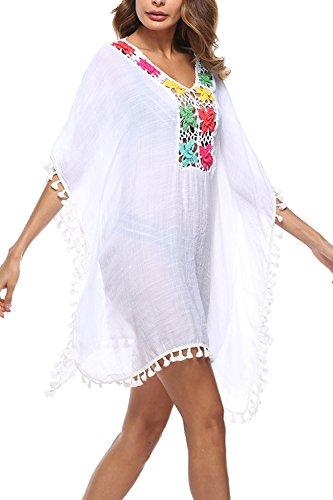 Mujer Ropa de Baño Bikini Cover up Cubrir Suelto Tunica Bohemios Vestido de Playa Borla Verano Camisolas y Pareos White One Size