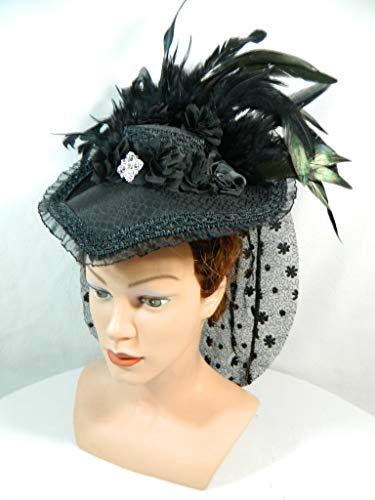 Damenhut Schute schwarz Viktorianisch Gothic Marie Antoinette Haube Attifet Biedermeier