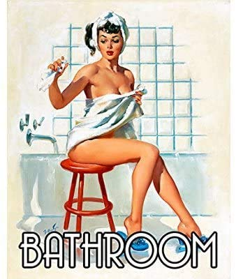 8''x12'' Bathroom PIn Up Girl Tin Sign