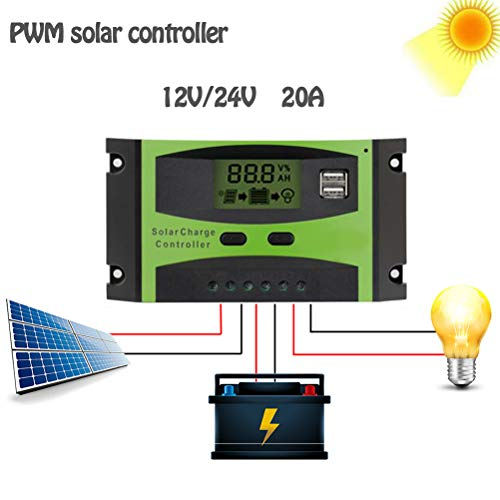 PWM 20A Solar Laadregelaar, 12V 24V LCD Display zonnepaneel Dual USB-poort, batterijlader Intelligent Straatverlichting Verlichting,Green