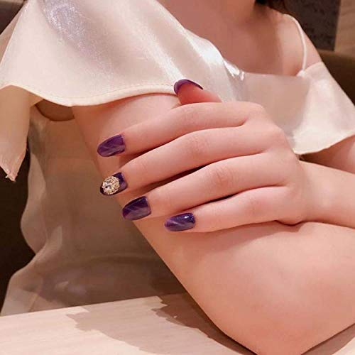 TJJF 24 Pcs Mode Full Cover Faux Ongles Avec Colle Ins Style Portable Violet Faux Ongles Glitter Cat Eye Avec Brillant Appuyez Sur