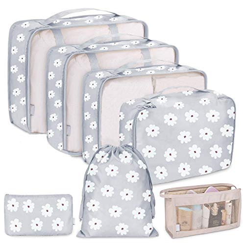 7Pcs Travel Storage Bags, Organizer Accessories, Suitcase Clothes Packing,Luggage Compression Cube,Pouch Baggage, Sorting Bag (White Flower)
