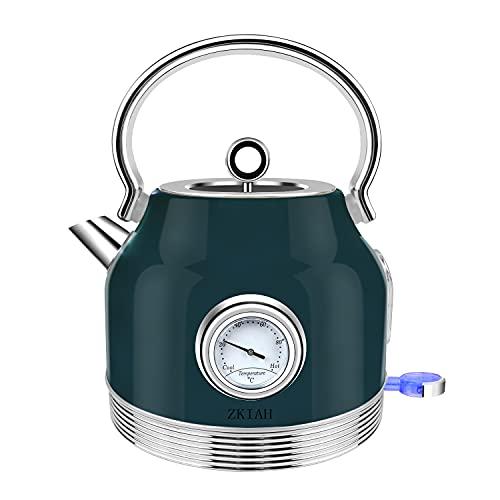 ZKIAH Wasserkocher mit Thermometer 1,7L 220V 2500W, Retro Edelstahl Wasser Teekocher mit Kalkfilter, Automatische Abschaltung Kochtrockenschutz, Vintage Wasserkocher (Retro)