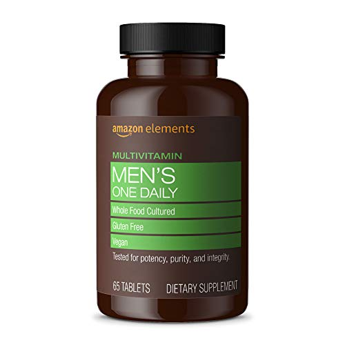 Amazon Elements Men's One Daily Multivitamin, 62% Whole Food Cultured, Vegan, 65 Tablets, 2 month supply (Packaging may vary)