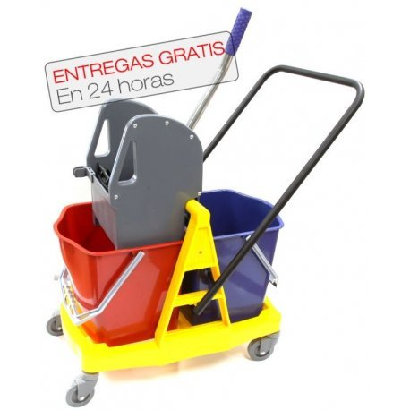 Carro de fregado profesional Clim Profesional® con doble cubo de 18 litros y prensa. Cubo de fregado profesional con ruedas y doble cubo para agua limpia y sucia