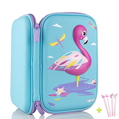 Pencil Case, iDelta 3D Cute EVA Unicorn Pen Pouch Stationery Box Anti-Shock Large Capacity Multi-Compartment for School Students Teens (Flamingo)