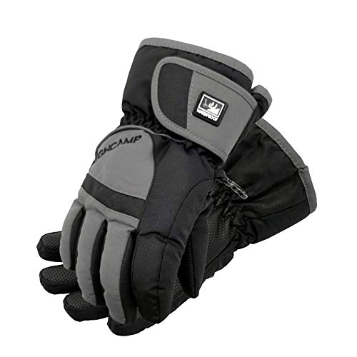 Highcamp Kids Boy Girl Waterproof Ski Snow Gloves Cold Weather Warm Winter Gloves, Charcoal(M,6-8 Years)