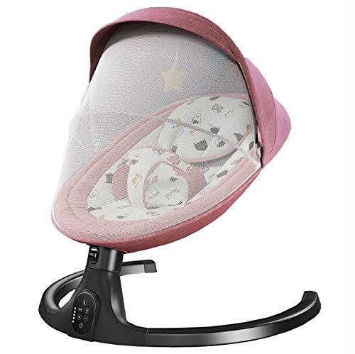 Utron Bluetooth Columpio Bebe Eléctrica con Mando A Distancia, Hamaca babybjorn con 5 Amplitudes/Música/Cinturón De Seguridad, Hamaca bebé electrica para 0-24 Meses Niños,Pink