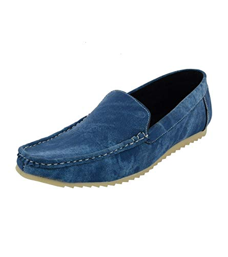 Leatherkraft Men's Blue Denim Loafers