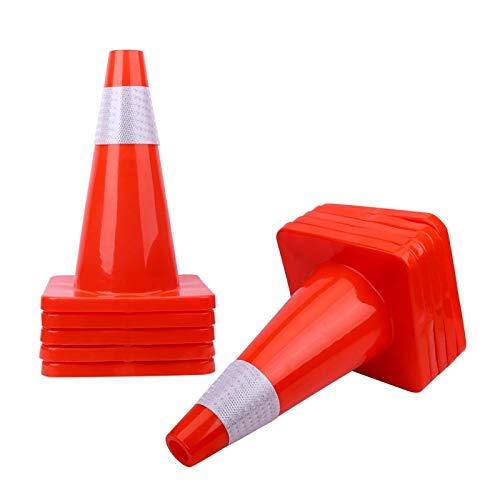 [ 12 Pack ] 18' Traffic Cones Plastic Road Cone PVC Safety Road Parking Cones Weighted Hazard Cones Construction Cones Orange Safety Cones Parking Barrier Field Marker Cones Safety Cones (12)