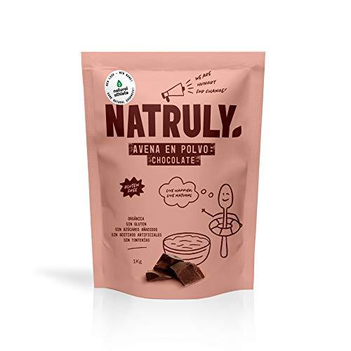 NATRULY Harina de Avena Sabor Chocolate, BIO Avena en Polvo Sin Azúcar, Sin Gluten, 1 KG