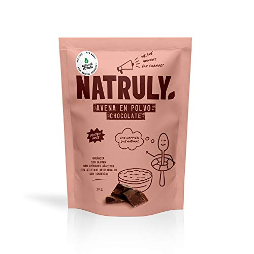 NATRULY Harina de Avena Sabor Chocolate, BIO Avena en Polvo Sin Azúcar, Sin Gluten, 1 KG (antes Natural Athlete)