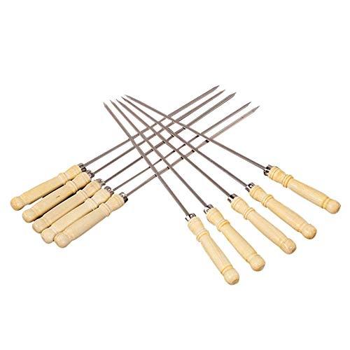 COOLSHOPY Forks Hähnchenflügel Gabel Holzgriff Edelstahl-Grill-Zeichen Gabel Kombinationswerkzeug Kebab Kebab Grill-Zeichen